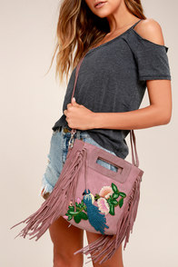 California Dreamin' Mauve Pink Suede Leather Embroidered Purse