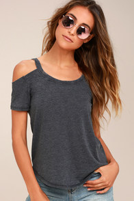 Anuhea Charcoal Grey Off-the-Shoulder Tee