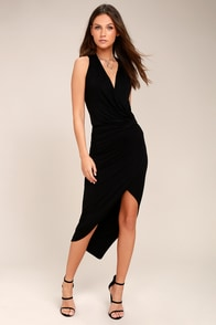 Open And Onyx Black Wrap Midi Dress at Lulus.com!