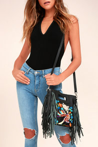 Paradise Found Black Embroidered Leather Purse