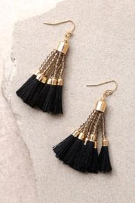 Stylista Gold and Black Beaded Tassel Earrings