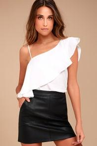 Harley Black Vegan Leather Mini Skirt