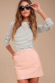 Harley Blush Pink Vegan Leather Mini Skirt at Lulus.com!
