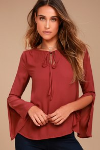 Carefully Curated Rust Red Long Sleeve Top