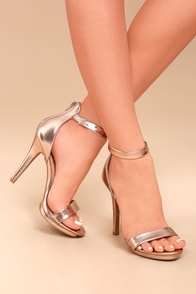 Samantha Rose Gold Platform High Heel Sandals