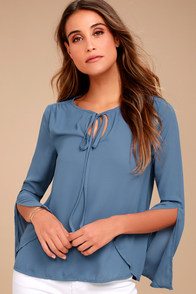 Carefully Curated Dusty Blue Long Sleeve Top