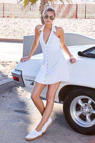 Beach Boogie White Sleeveless Dress at Lulus.com!