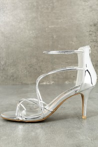 Kara Silver Patent High Heel Sandals