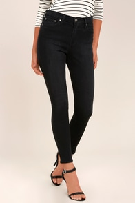 Step to the Beat Washed Black High-Waisted Skinny Jeans