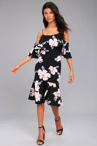 Extra Love Black Floral Print Off-the-Shoulder Dress