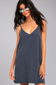 Project Social T Irene Washed Blue Shift Dress