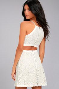 Defying Gravity White Lace Skater Dress