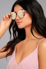 Perverse Solid Rose Gold Mirrored Aviator Sunglasses