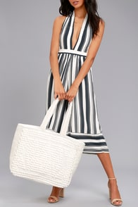Cadence Silver and Ivory Woven Tote