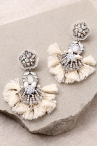 Shine Your Light Silver and Cream Rhinestone Tassel Earrings