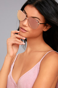 Quay The Playa Gold and Pink Aviator Sunglasses
