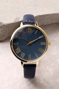 Time Can Tell Gold and Navy Blue Leather Watch