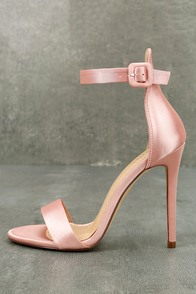 Charlize Blush Satin Ankle Strap Heels