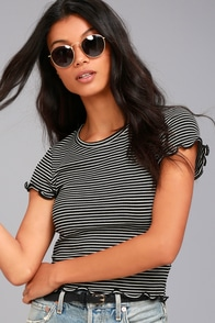 Project Social T Lainey Black and White Striped Tee