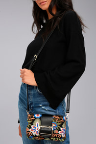 Petal Lined Path Black Embroidered Purse