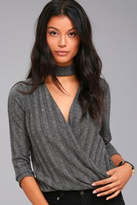 Project Social T Harper Charcoal Grey Wrap Top