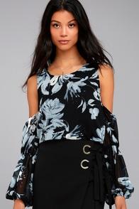 Kala Black Floral Print Cold Shoulder Top