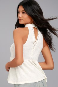 O'Neill Vivien Cream Lace Sleeveless Top at Lulus.com!
