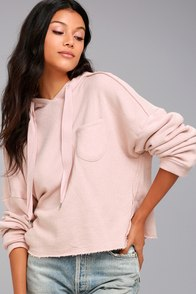 Others Follow Work It Blush Pink Cropped Hoodie