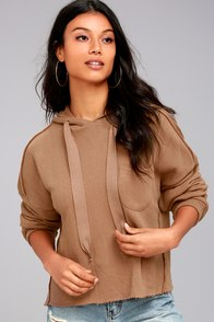 Others Follow Work It Brown Cropped Hoodie