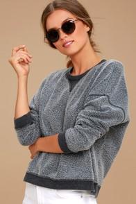 Sweet Embrace Charcoal Grey Cropped Sweatshirt