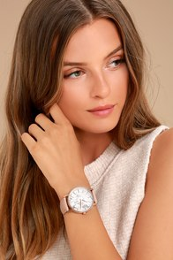 McCoy Road Ten40 White Marble and Blush Leather Watch