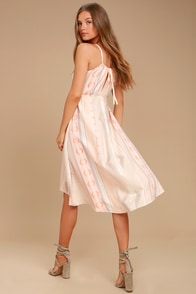 O'Neill Uli Blush Pink Print Midi Dress