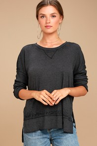 Emerson Washed Black Long Sleeve Top