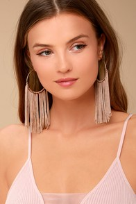 Wings of the Wind Gold and Beige Fringe Earrings