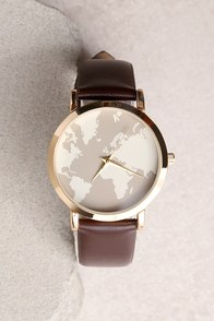 Around the World Gold and Brown Watch