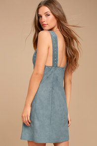 Somedays Lovin' Slate Sky Dusty Blue Suede Mini Dress at Lulus.com!