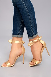 Xia Champagne Satin Ankle Strap Heels