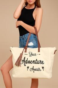 Adventure Ahead Tan and Cream Weekender