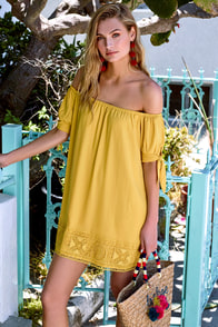 Moment In The Sun Mustard Yellow Lace Off-the-Shoulder Dress at Lulus.com!