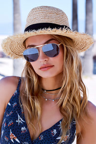 YHF Los Angeles Jenna Silver and Blue Aviator Sunglasses