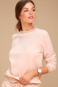Leilani Blush Pink Velour Sweatshirt