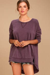 The Weekender Washed Plum Purple Sweatshirt at Lulus.com!