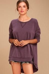 The Weekender Washed Plum Purple Sweatshirt