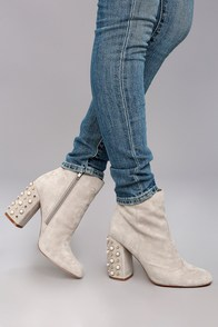 Steve Madden Yvette Taupe Suede Leather Studded Booties