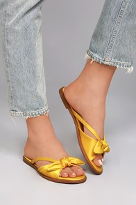 Tia Yellow Satin Knotted Slide Sandals