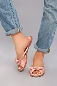 Tia Dusty Pink Satin Knotted Slide Sandals