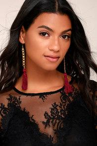 Vanessa Mooney Davina Burgundy Silk Tassel Earrings