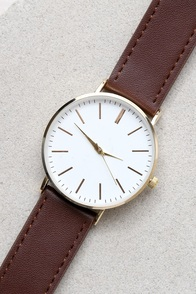 One Moment Gold and Dark Brown Watch