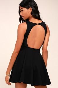 Gal About Town Black Skater Dress
