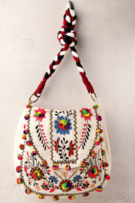 Outside the Lines Beige Embroidered Bag